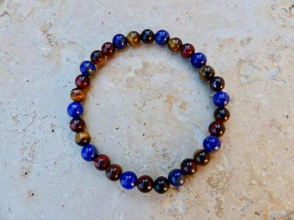 Bracelet Bracelet avec oeil du tigre, oeil de taureau et Lapis Lazuli